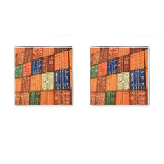 Blue White Orange And Brown Container Van Cufflinks (square) by Amaryn4rt