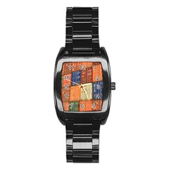 Blue White Orange And Brown Container Van Stainless Steel Barrel Watch by Amaryn4rt