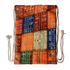Blue White Orange And Brown Container Van Drawstring Bag (large) by Amaryn4rt