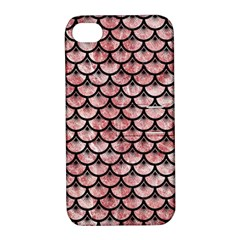 Scales3 Black Marble & Red & White Marble (r) Apple Iphone 4/4s Hardshell Case With Stand by trendistuff