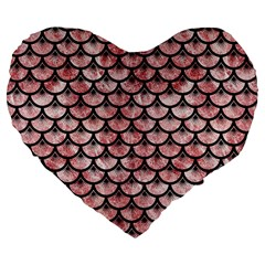 Scales3 Black Marble & Red & White Marble (r) Large 19  Premium Flano Heart Shape Cushion by trendistuff