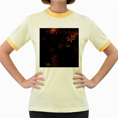 Christmas Background Motif Star Women s Fitted Ringer T Shirts