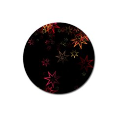 Christmas Background Motif Star Magnet 3  (round) by Amaryn4rt