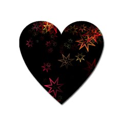 Christmas Background Motif Star Heart Magnet by Amaryn4rt