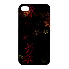 Christmas Background Motif Star Apple Iphone 4/4s Hardshell Case by Amaryn4rt