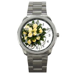 Bouquet Flowers Roses Decoration Sport Metal Watch by Amaryn4rt