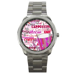 Coffee Cup Lettering Coffee Cup Sport Metal Watch by Amaryn4rt