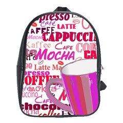 Coffee Cup Lettering Coffee Cup School Bags(large)  by Amaryn4rt