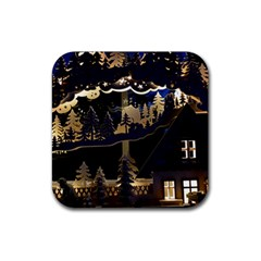 Christmas Advent Candle Arches Rubber Square Coaster (4 Pack)