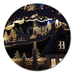 Christmas Advent Candle Arches Magnet 5  (round) by Amaryn4rt