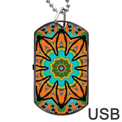Color Abstract Pattern Structure Dog Tag Usb Flash (one Side) by Amaryn4rt