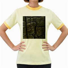 Coal Charred Tree Pore Black Women s Fitted Ringer T-Shirts by Amaryn4rt