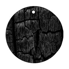 Coal Charred Tree Pore Black Round Ornament (two Sides)  by Amaryn4rt