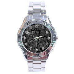Coal Charred Tree Pore Black Stainless Steel Analogue Watch