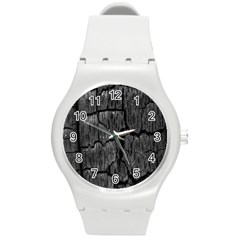 Coal Charred Tree Pore Black Round Plastic Sport Watch (m) by Amaryn4rt