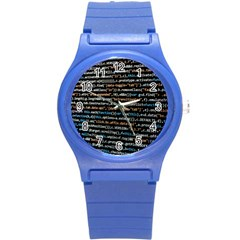 Close Up Code Coding Computer Round Plastic Sport Watch (s) by Amaryn4rt