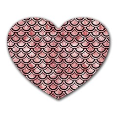 Scales2 Black Marble & Red & White Marble (r) Heart Mousepad by trendistuff