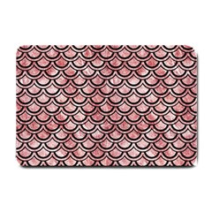 Scales2 Black Marble & Red & White Marble (r) Small Doormat by trendistuff