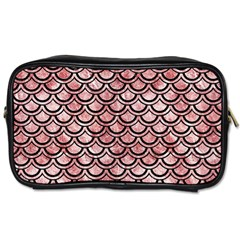 Scales2 Black Marble & Red & White Marble (r) Toiletries Bag (one Side) by trendistuff