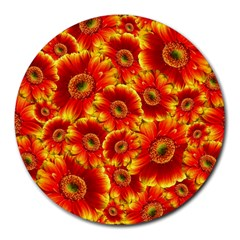 Gerbera Flowers Blossom Bloom Round Mousepads by Amaryn4rt