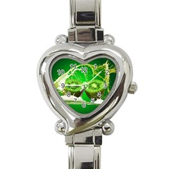 Kiwi Fruit Vitamins Healthy Cut Heart Italian Charm Watch by Amaryn4rt