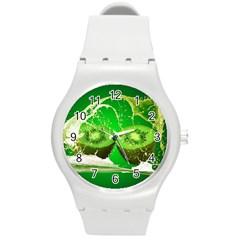 Kiwi Fruit Vitamins Healthy Cut Round Plastic Sport Watch (m) by Amaryn4rt