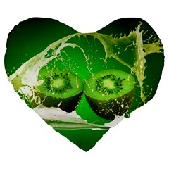 Kiwi Fruit Vitamins Healthy Cut Large 19  Premium Flano Heart Shape Cushions by Amaryn4rt