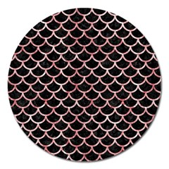 Scales1 Black Marble & Red & White Marble Magnet 5  (round) by trendistuff