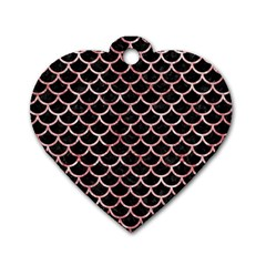 Scales1 Black Marble & Red & White Marble Dog Tag Heart (two Sides) by trendistuff