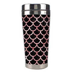 Scales1 Black Marble & Red & White Marble Stainless Steel Travel Tumbler by trendistuff