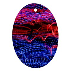 Lights Abstract Curves Long Exposure Ornament (oval)  by Amaryn4rt