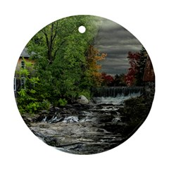 Landscape Summer Fall Colors Mill Ornament (round)  by Amaryn4rt