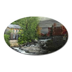 Landscape Summer Fall Colors Mill Oval Magnet by Amaryn4rt