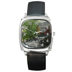 Landscape Summer Fall Colors Mill Square Metal Watch by Amaryn4rt