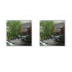 Landscape Summer Fall Colors Mill Cufflinks (square) by Amaryn4rt