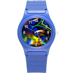 Light Texture Abstract Background Round Plastic Sport Watch (s)