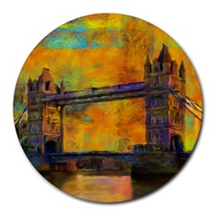 London Tower Abstract Bridge Round Mousepads by Amaryn4rt