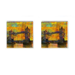 London Tower Abstract Bridge Cufflinks (square) by Amaryn4rt