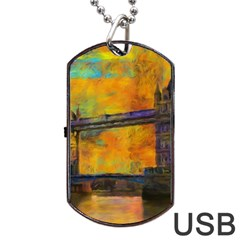 London Tower Abstract Bridge Dog Tag Usb Flash (two Sides)  by Amaryn4rt