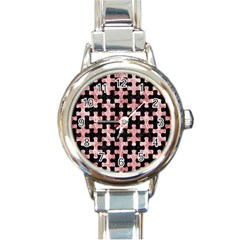 Puzzle1 Black Marble & Red & White Marble Round Italian Charm Watch