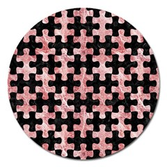 Puzzle1 Black Marble & Red & White Marble Magnet 5  (round) by trendistuff