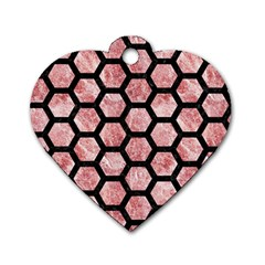 Hexagon2 Black Marble & Red & White Marble (r) Dog Tag Heart (two Sides) by trendistuff