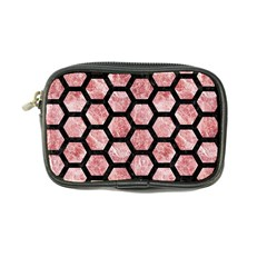 Hexagon2 Black Marble & Red & White Marble (r) Coin Purse by trendistuff