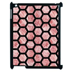 Hexagon2 Black Marble & Red & White Marble (r) Apple Ipad 2 Case (black) by trendistuff