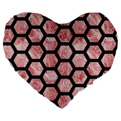 Hexagon2 Black Marble & Red & White Marble (r) Large 19  Premium Flano Heart Shape Cushion by trendistuff