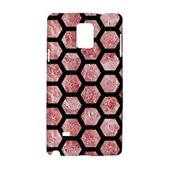 Hexagon2 Black Marble & Red & White Marble (r) Samsung Galaxy Note 4 Hardshell Case by trendistuff