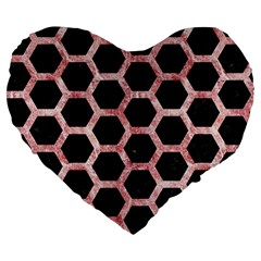 Hexagon2 Black Marble & Red & White Marble Large 19  Premium Flano Heart Shape Cushion by trendistuff