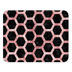 Hexagon2 Black Marble & Red & White Marble Double Sided Flano Blanket (large) by trendistuff