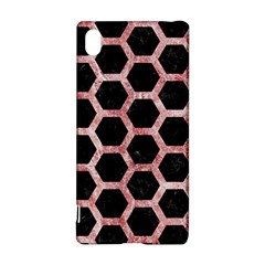 Hexagon2 Black Marble & Red & White Marble Sony Xperia Z3+ Hardshell Case by trendistuff
