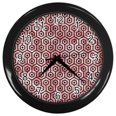 Hexagon1 Black Marble & Red & White Marble (r) Wall Clock (black) by trendistuff